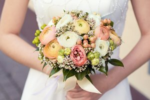 Wedding pastel bouquet ranunculus