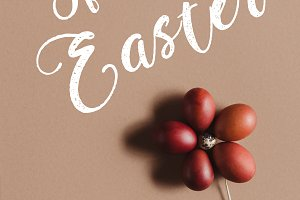 easter food composition with flower