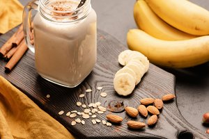 Banana protein smoothie or milkshake