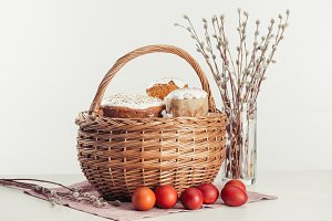 basket with easter cakes, painted eg