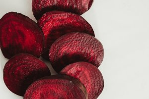 top view of red sliced beetroot on g
