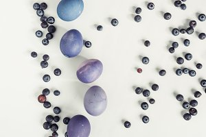 top view of blueberries and painted