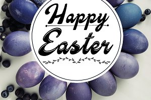 violet painted chicken eggs, blueber