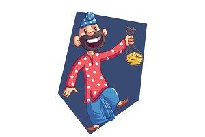 Happy Punjabi Sardar Illustration