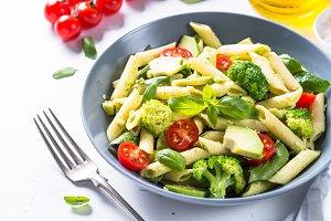 Vegan pasta penne with vegetables.