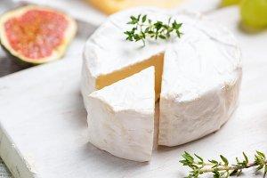 Brie or camembert cheese closeup