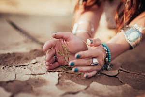 Hands of girl and little green plant