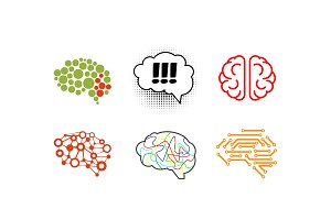 Human brain set, bright creative