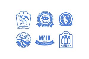 Milk products logos set, fresh