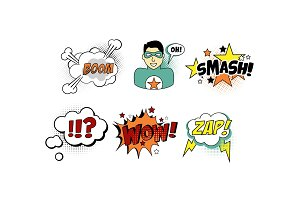 Bright comic templates set, speech
