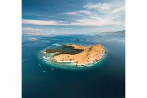 Lone standing island. Aerial drone