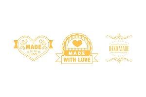 Made with love logo set, hand made