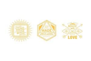 Hand made with love logo set