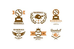 Baseball logo set, retro emblem for