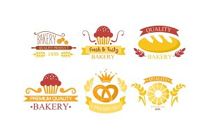Bakery logo set, bakehouse retro