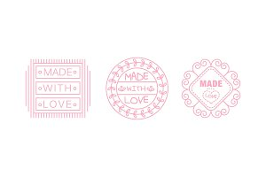 Made with love logo set, pink