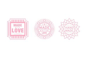 Hand made with love logo set, pink