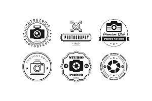 Photo studio logo set, photography