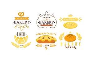 Bakery premium logo set, bakehouse