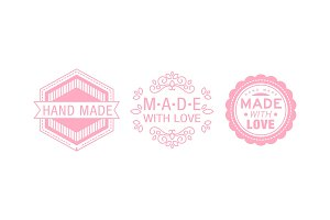 Made with love pink logo set
