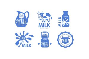 Milk natural products logos set