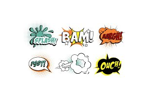 Bright comic speech bubbles set