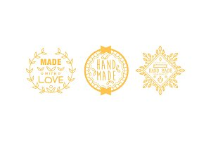 Made with love logo set, golden