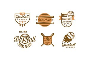 Baseball logo set, retro emblems of