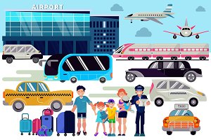 Airport transfer vector traveling