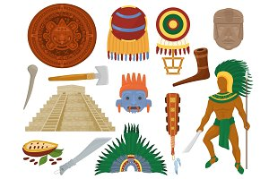 Aztec vector mexican ancient culture