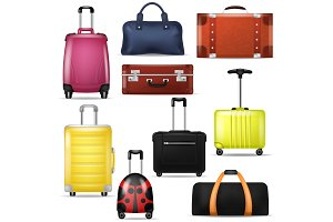 Travel bag vector realistic luggage
