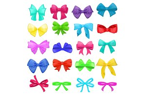Bow vector cartoon bowknot or ribbon