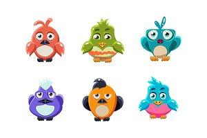 Cute colorful birds set, cartoon