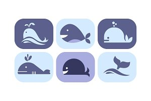 Cute whale icons set, sea creature