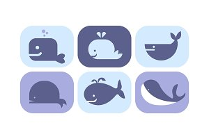 Cute blue whale icons set, sea