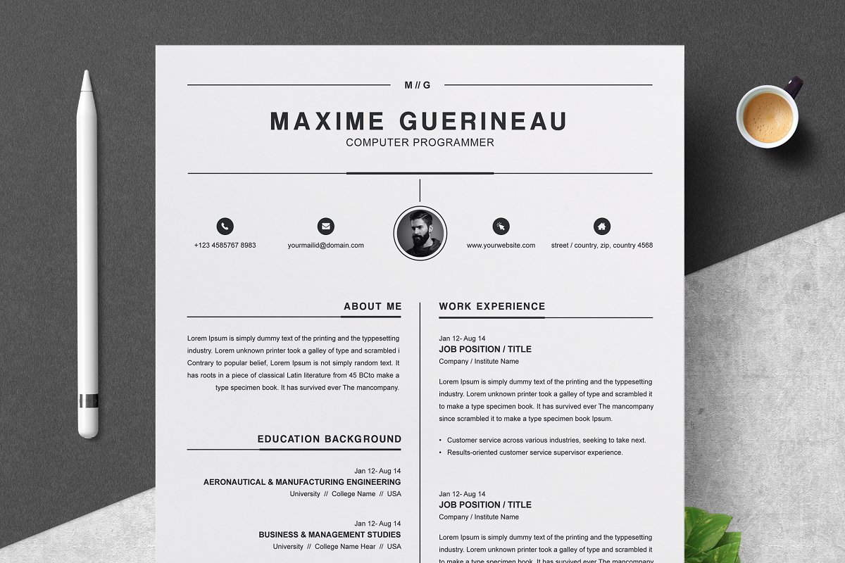CV Template ~ Resume Templates ~ Creative Market