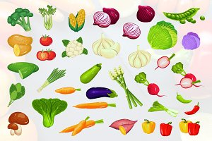 Vegetables Natural Healthy Food Set
