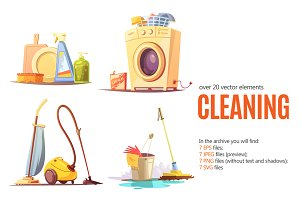 Cleaning Cartoon Set