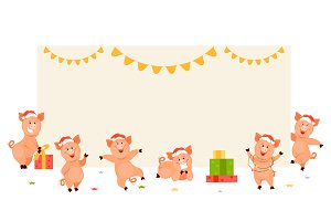Christmas pig vector set
