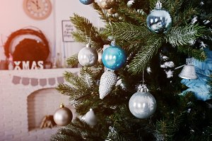 Toys at  new year tree at white room