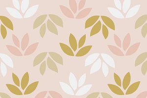 Simple pattern of leaves on pink