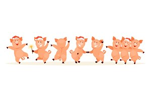 Christmas vector pigs