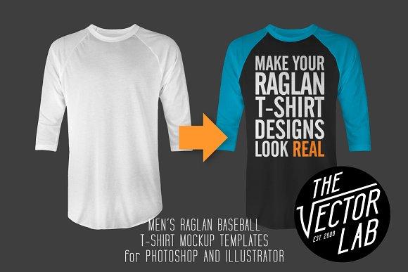 Men\'s Raglan Mockup Templates PSD+AI ~ Product Mockups ~ Creative Market