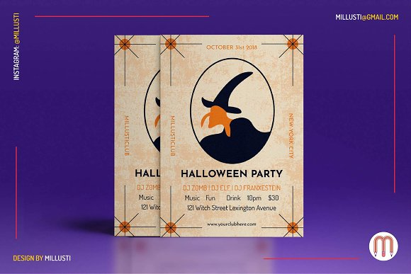 tarot witch halloween party flyer flyer templates creative market