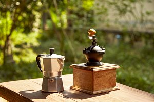 traditional coffee on wooden table