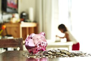 Piggy Bank With little children