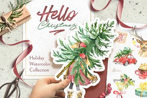 Hello Christmas. Watercolor Kit.