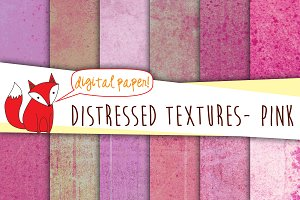Distressed Digital Paper- Pink