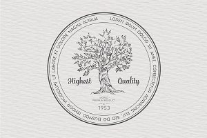 Vintage label with tree, vector
