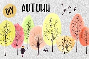 Watercolor DIY Autumn Clip Art Set